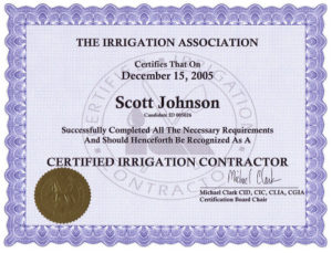 Irrigation Association Certified Irrigation Contractor