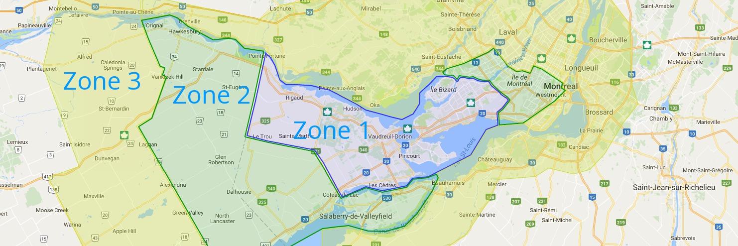 Zone de service de Montréal